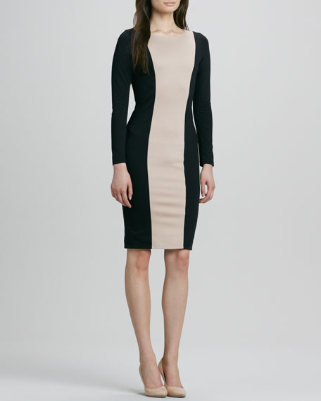 Amena Long-Sleeve Bicolor Sheath Dress