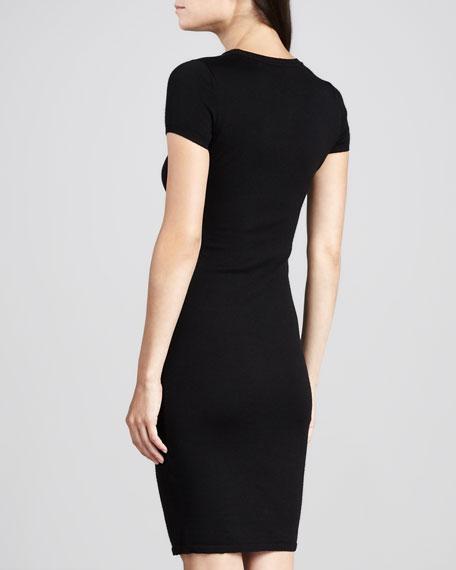 Lace-Yoke Short-Sleeve Sheath Dress, Black