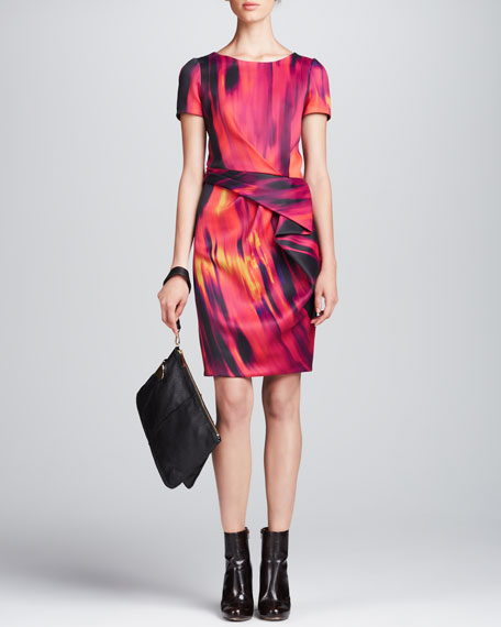 Printed Front-Drape Dress