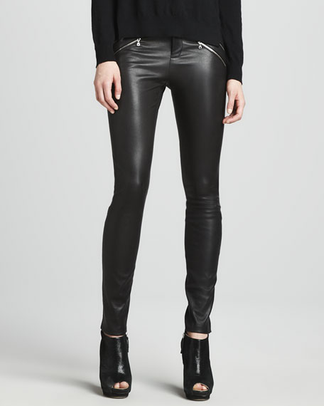 Claudette Leather Pants, Black