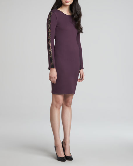 Dionne Long-Sleeve Lace-Inset Dress