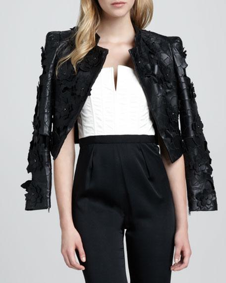 Zaiden Floral-Applique Moto Jacket