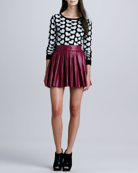 Pleated Leather Miniskirt, Mulberry