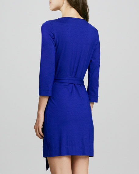 New Julian Two Mini Wrap Dress, Tanzanite