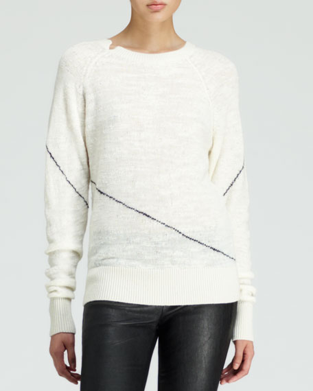 Knit Slant-Stripe Crewneck Sweater