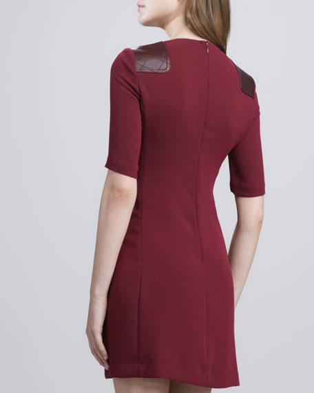 Sparks Crepe Leather-Shoulder Dress