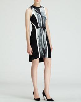 Helmut Lang Sleeveless Silver-Print Dress