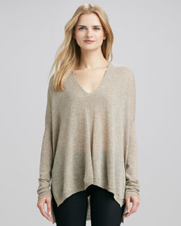 Vince Seamed V-Neck Top, Rock