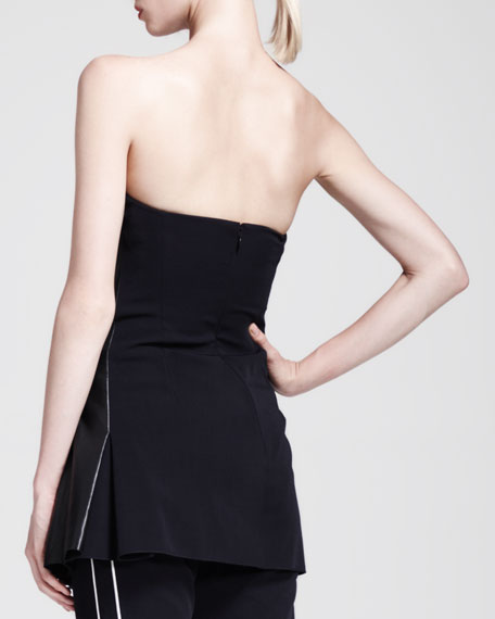 Strapless Leather-Panel Tunic
