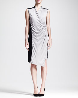 Helmut Lang Colorblock Draped Jersey Dress