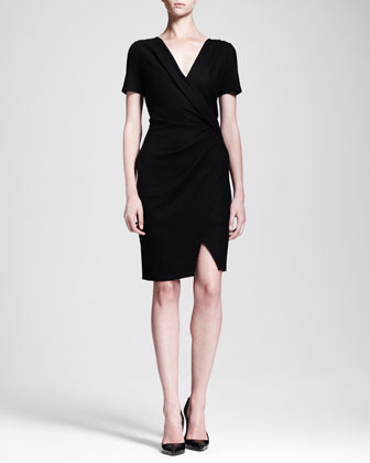 Sonar Wool Draped Crossover Dress