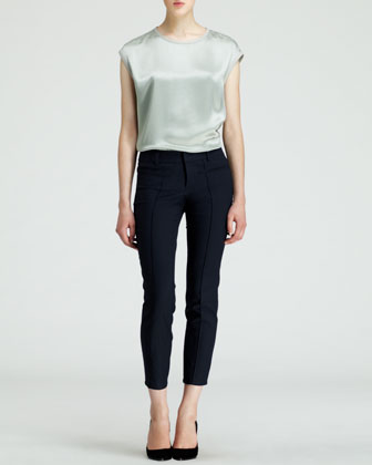 Piped Stretch Cropped Pants