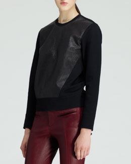 Helmut Lang Motion Leather-Front Sweatshirt