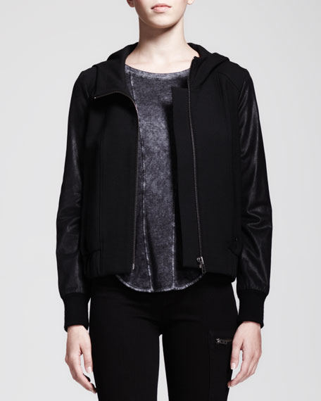 Hooded Leather-Sleeve Bomber Jacket
