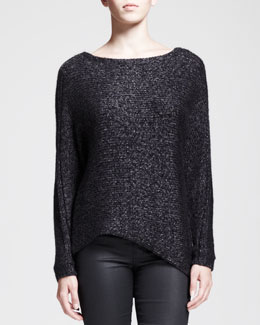 HELMUT Helmut Lang Flecked Metallic Asymmetric Sweater