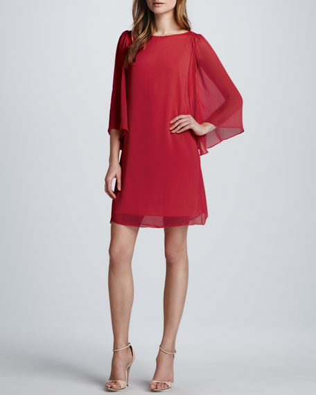 Odette Flutter-Sleeve Dress, Cherry