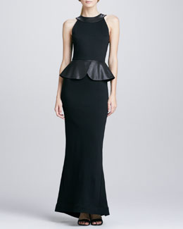 Alice + Olivia Karen Leather-Peplum Ponte Gown