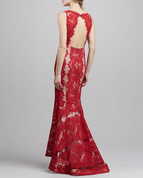 Jae Open-Back Lace Gown, Red