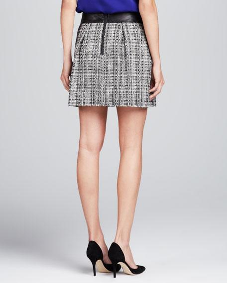 Naomi Leather-Waist Skirt