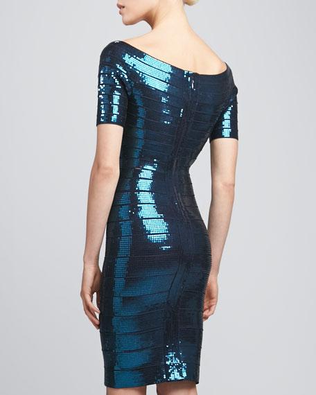 Boat-Neck Sequined Bandage Dress