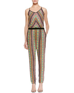 Milly Printed Silk Racerback Jumpsuit
