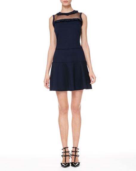 Dotted-Yoke Drop-Waist Dress