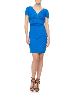 Diane von Furstenberg Chelsea Short-Sleeve Ruched Dress, Dark Lapis