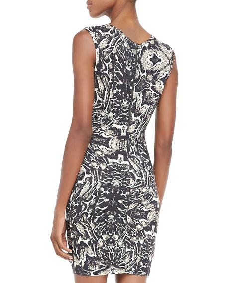 Printed Gathered-Side Dress