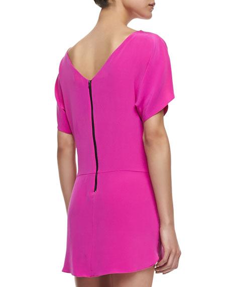 Boat-Neck Silk Shift Dress, Shocking Pink
