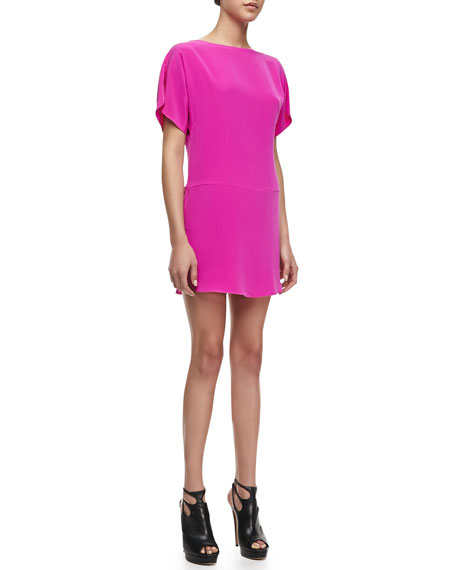 Boat-Neck Silk Shift Dress, Shocking Pink