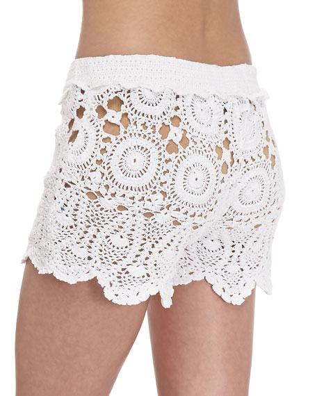 Crochet Tie-Waist Shorts, White