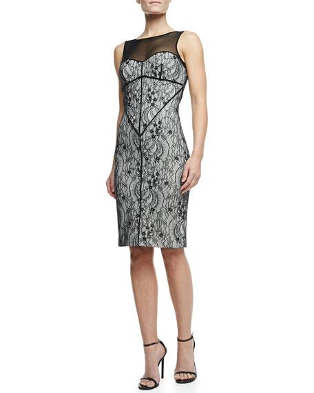 Sleeveless Lace Knit Dress, Shell/Black