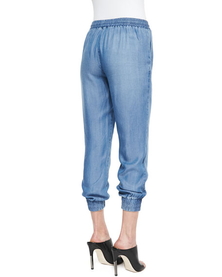 Indigo Dye Tapered Crop Pants, Medium Wash