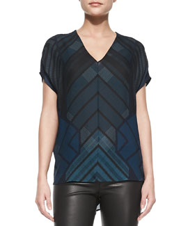 Vince Short-Sleeve Chevron-Print Shell