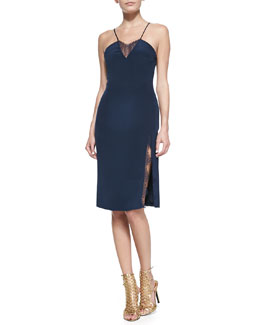 Tamara Mellon Lace-Insert Spaghetti Strap Dress, Navy