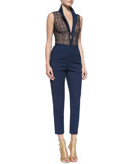 Tamara Mellon Sleeveless Lace & Cotton Jumpsuit, Navy