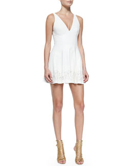 Tamara Mellon Laser-cut Leather Dress, Cream