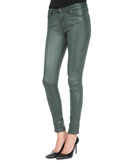 7 For All Mankind Leather-Like Waxy Skinny Jeans, Forest Green Crackle