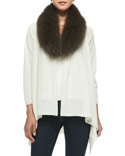 Cashmere-Blend Izzy Open-Front Cardigan, Cream