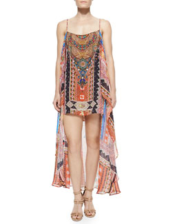 Printed Silk Convertible Maxi Dress