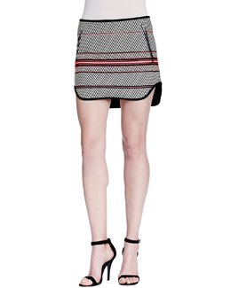 Bess Striped Zip-Pocket Skirt