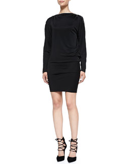 Zip-Detail Boat-Neck Jersey Dress