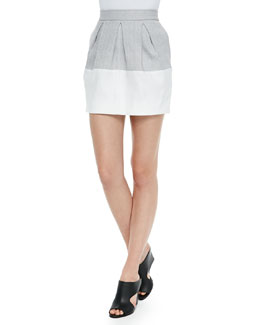 Three-Pleat Colorblocked Mini Skirt