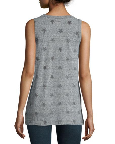 The Muscle Tee, Heather Grey Star Print