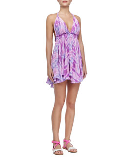 Printed Halter-Neck Mini Dress