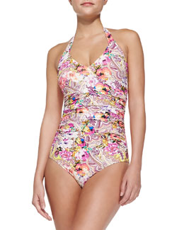 Rose/Paisley-Print One-Piece Swimsuit