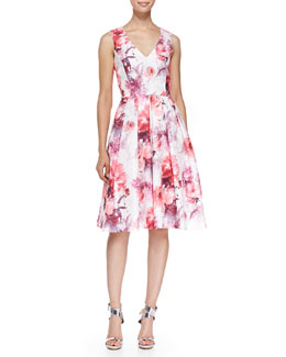Sleeveless V-Neck Floral Cocktail Dress, Ivory/Coral