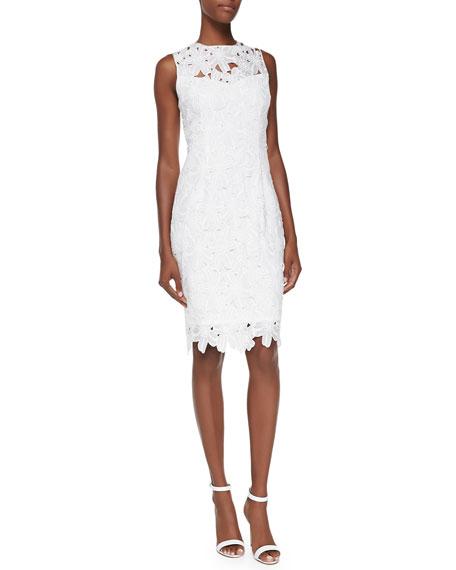 sleeveless-floral-lace-sheath-dress,-ivory by carmen-marc-valvo