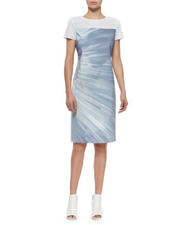 Cassie Printed Sheath Dress W/ Mesh