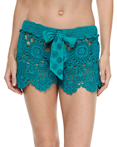 Crochet Coverup Shorts, Teal